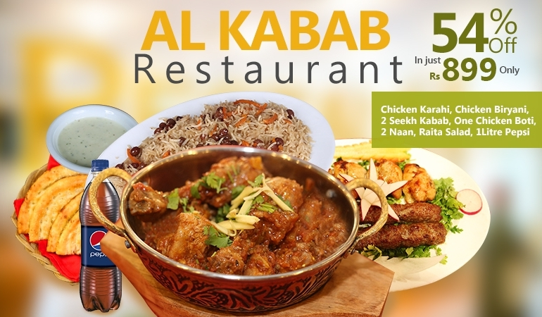 Chicken Karahi+ Chicken Biryani+ Two Seekh Kabab+ One Chicken Boti+ 2 Naan+ Raita Salad+ 1Liter Pepsi From Al Kabab Resturant