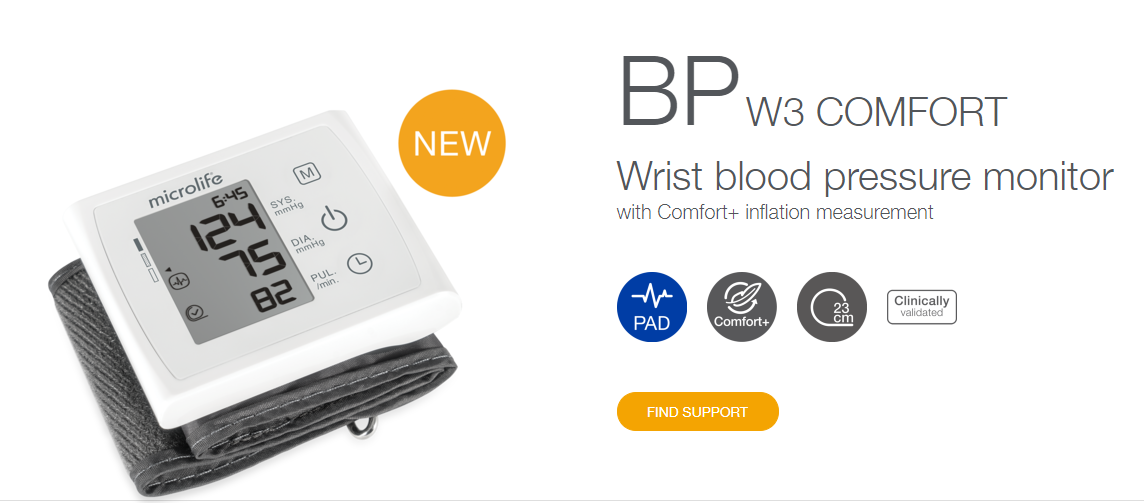 BP W3 COMFORT Wrist blood pressure monitor with Comfort+ inflation measurement with 1 Year Warranty