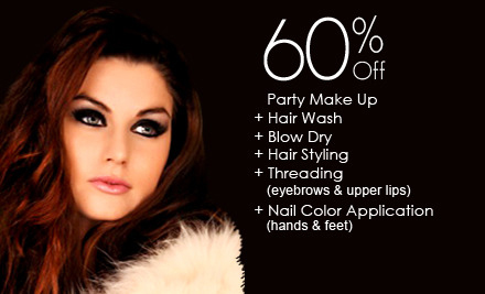 60% off Rs 3499 only for Party Make Up + Hair Wash + Blow Dry + Hair Styling + Threading (eyebrows & upper lips) + Nail Color Application (hands & feet) by The Beauty Room Salon Gulberg III, Lahore.