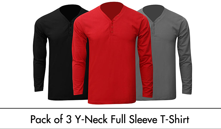 Pack of 3 Full Sleeves Y-Neck T-Shirts for HIM