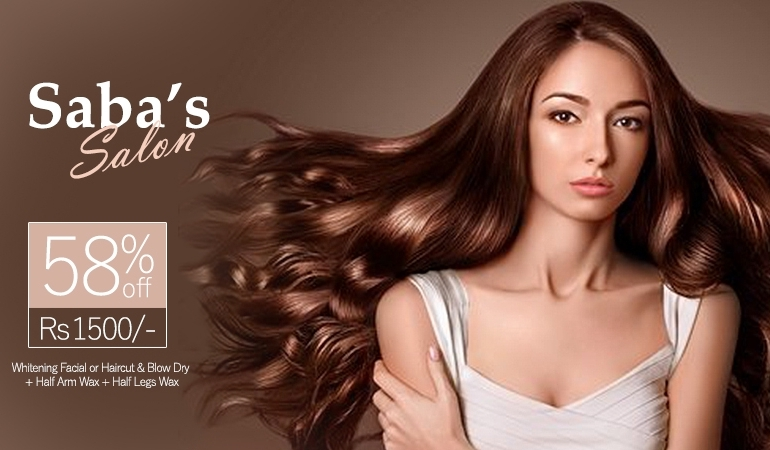58% off Rs 1500 only for Whitening Facial or Haircut & Blow Dry + Half Arm Wax + Half Legs Wax + Whitening Manicure + Whitening Pedicure + Threading (Eye Brows & Upper Lips) By Saba Salon Gulberg 2, Lahore.