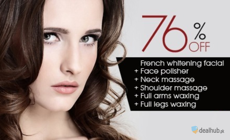 French Whitening Facial + Face Polisher + Neck Massage + Shoulder Massage + Full Arms Waxing + Full Legs Waxing at The Beauty Room Salon Gulberg, Lahore.