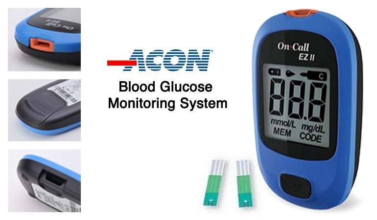 On-Call EZ II Blood Glucose Monitoring System: 10 Test Strips + Blood Glucose Meter + Code Chip + Lancing Device + 10 Sterile Lancets + Carrying Case + Warranty Card + User Guide from ACON International