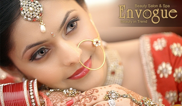 Receive Bridal Makeup + Hair Styling + Whitening Glow Facial with herbal polisher & bleach + Spa Whitening Manicure + Spa Whitening Pedicure + Dupatta Setting + Jewelry Setting + Nail color application from Envogue Beauty Salon & Spa DHA & Gulberg Lahore.