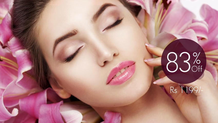83% off, Rs 1199 only for Double Whitening Facial with Polish + Whitening Manicure with Polish + Whitening Pedicure with Polish + Neck and Shoulders Massage + Hands and Feet Massage + Threading (Eyebrows & Upper Lip) by Lady Gaga Salon & Spa Gulberg III, Lahore.