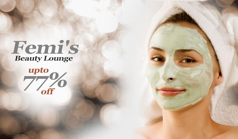 77% off, Rs 1499 only for Gold Facial + Gold Skin Exfoliation + Gold Face Tightening Mask + Gold Whitening Skin Polish + Gold Waxing Half Arms +  Hair wash with protein treatment + Relaxing Shoulder & Neck Massage + Head & Feet Massage + Threading (eye brows & upper lips) + Nail Color Application by Femi's Beauty Lounge, Iqbal Town Lahore
