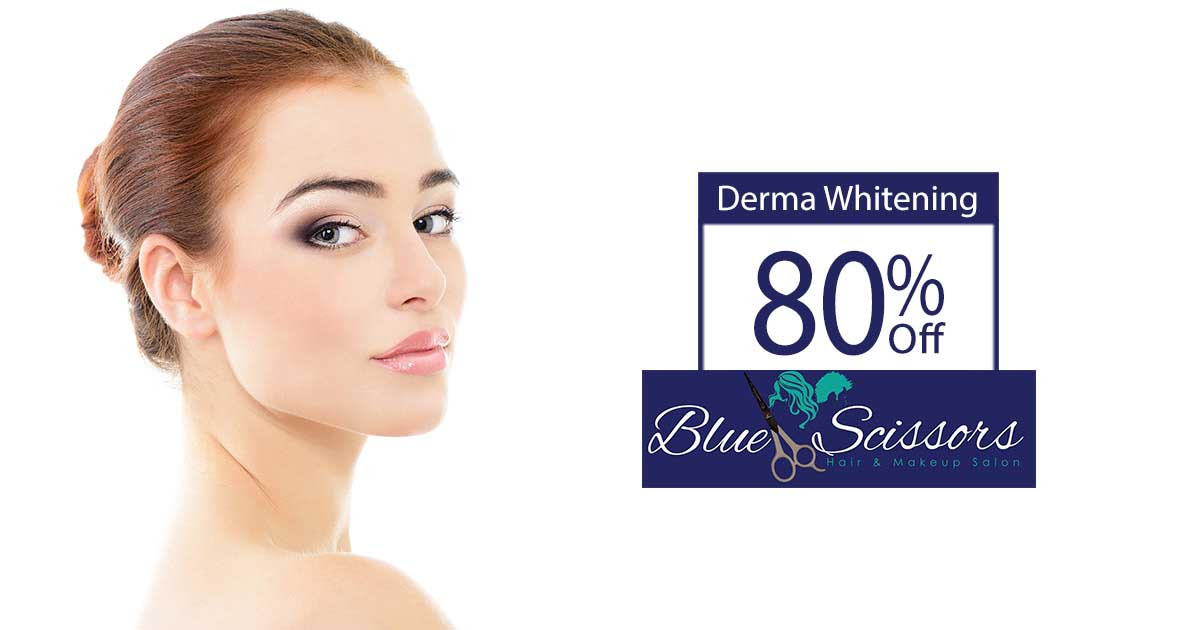 80% off, Rs 1499 only for Derma Whitening Facial + Whitening Face Polish + Deluxe Royal Whitening Manicure + Deluxe Royal Whitening Pedicure  + Full-arms Wax + Hands and Feet Polisher + Hand and Feet Massage + Neck and Shoulders Massage + Threading (Upper Lips and Eyebrows) at Blue Scissor Salon & Studio Wapda Town Lahore.