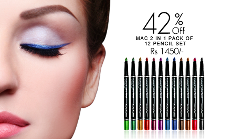 42% off, Rs 1450 only for 1 Pack of 12 color Mac 2 in 1 Eyeliner + Lipliner Pencil (First Copy)