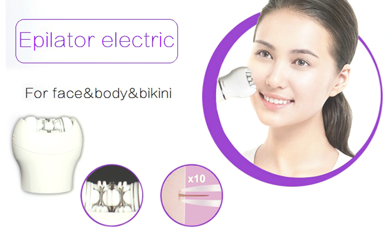 Facial Epilator Rechargeable Cordless! Facial Hair Removal + Facial Cleansing Brush + Pedicure Hard Skin Remover + Massage Roller Lady Shaver