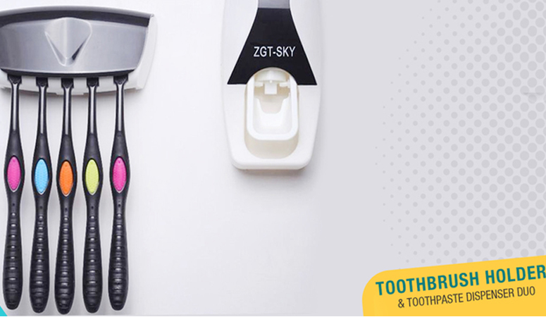 Toothbrush Holder & Toothpaste Dispenser Duo