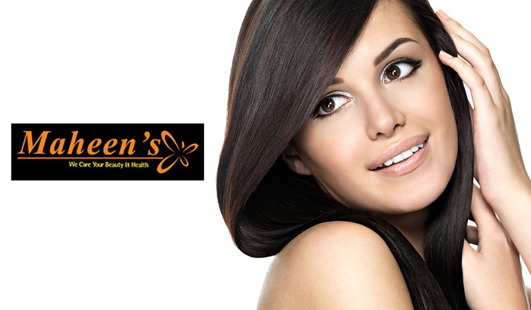 77% off Rs 1999 only for Dermacos Whitening Facial + Whitening Glow Polisher + Whitening Manicure with Polisher + Whitening Pedicure with Polisher + Signature Hair Cut or Hair Protein Treatment + Half Arm Wax + Eye brow & Upper lip Threading Maheen's Beauty Salon, G-9 Markaz, Islamabad.
