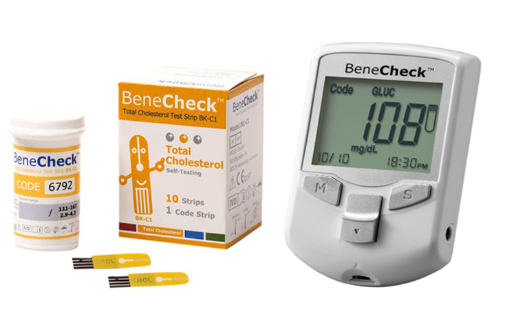 BeneCheck Multi-Monitoring Meter (3 in 1 Sug,Chol,Uric Acid Meter kit) Plus Total Cholesterol Test Strips (with Lancing Pen - Strips - Lancets & Carry Case)