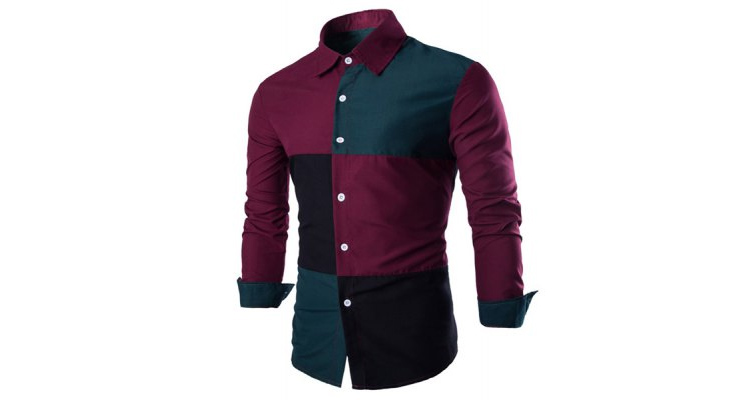 Fashion Shirt Collar Color Block Stitching Slimming Long Sleeve Cotton Blend Shirt For Men  -  L  RED AND GREEN
