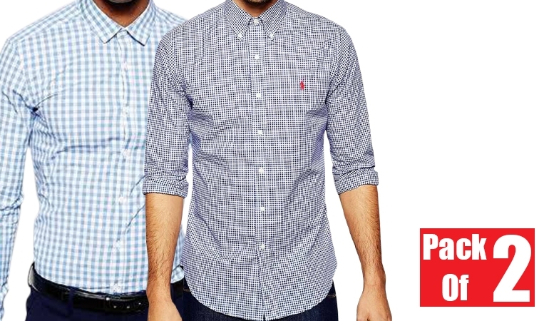 Pack of 2 Full Sleeve Men Button Down Shirts