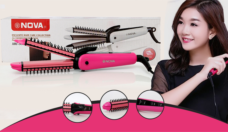Nova 3 in 1 Professional Hair Straightener, Hair crimper plus Hair Curler