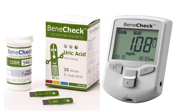BeneCheck Plus Uric Acid Monitor (with Case, Lancets/Pen, and 25 Strips)
