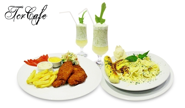 1 English Fried Fish + 1 Fettuccino Alfredo + 2 Mint Coolers from TCR Cafe